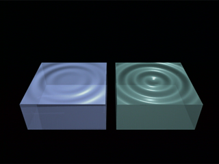 Top Image from CMB Ripples animation: Different gasses react differently