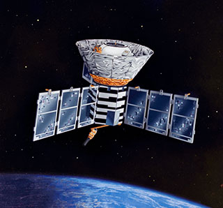 COBE Satellite in Orbit above the Earth