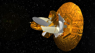 Middle Image from WMAP Flyby at L2 animation: WMAP Spacecraft close up